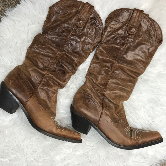 dd4fa07a5cf Steve Madden Cowboy Boots Brown Leather Spurs Heel